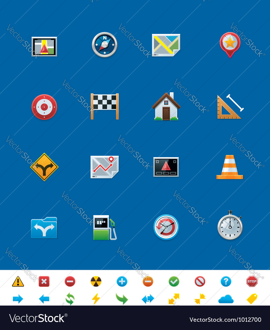 Gps navigation icons vector | Price: 3 Credit (USD $3)