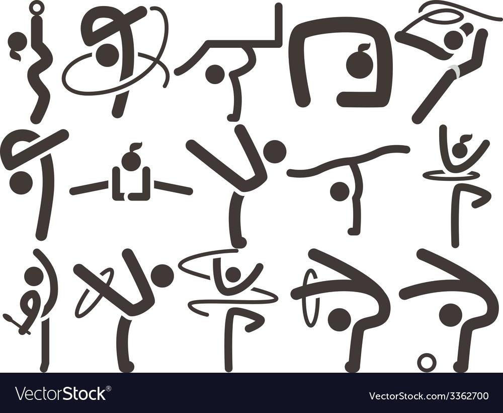 Gymnastics rhythmic icons vector | Price: 1 Credit (USD $1)
