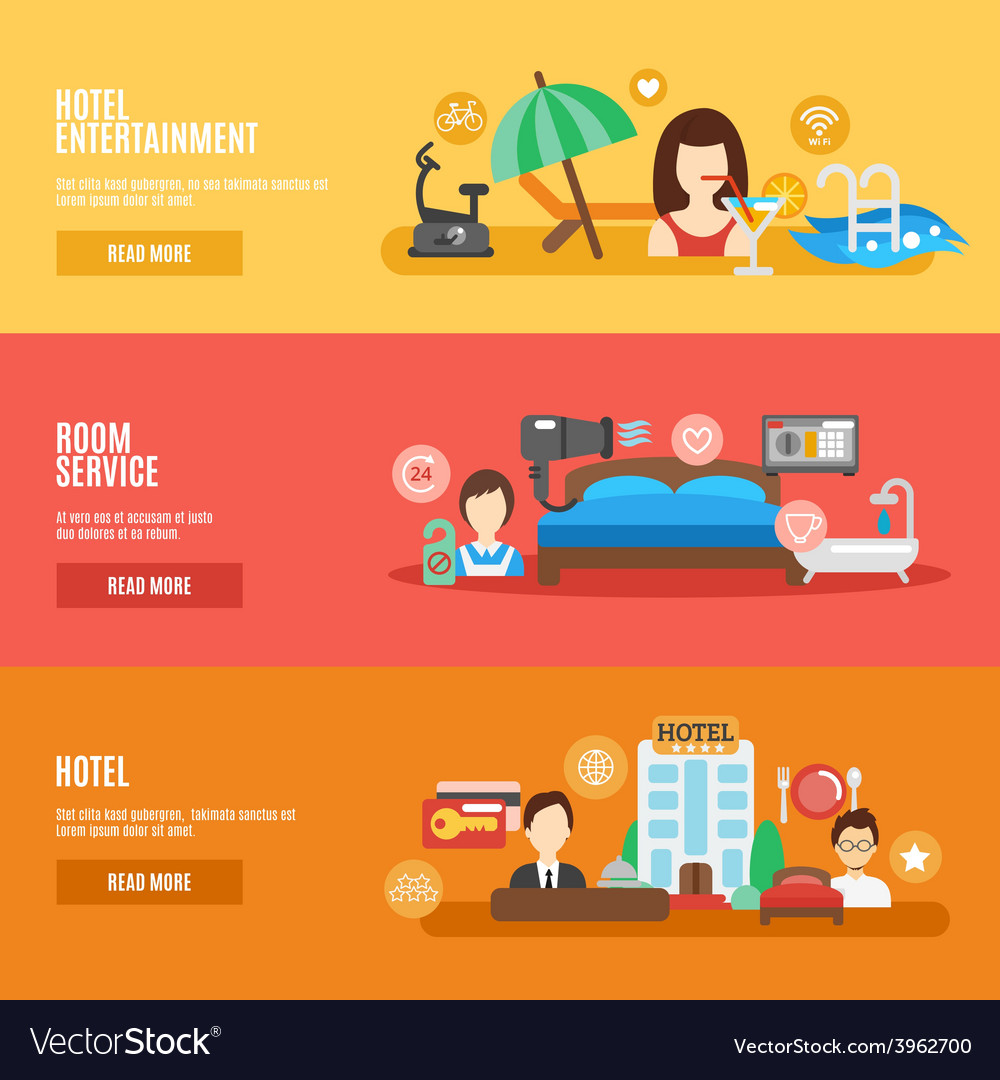Hotel banner set vector | Price: 1 Credit (USD $1)