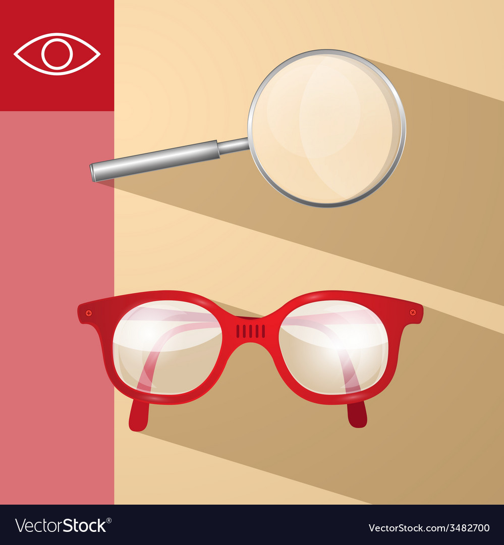 Magnifying glass and retro glasses vector | Price: 1 Credit (USD $1)