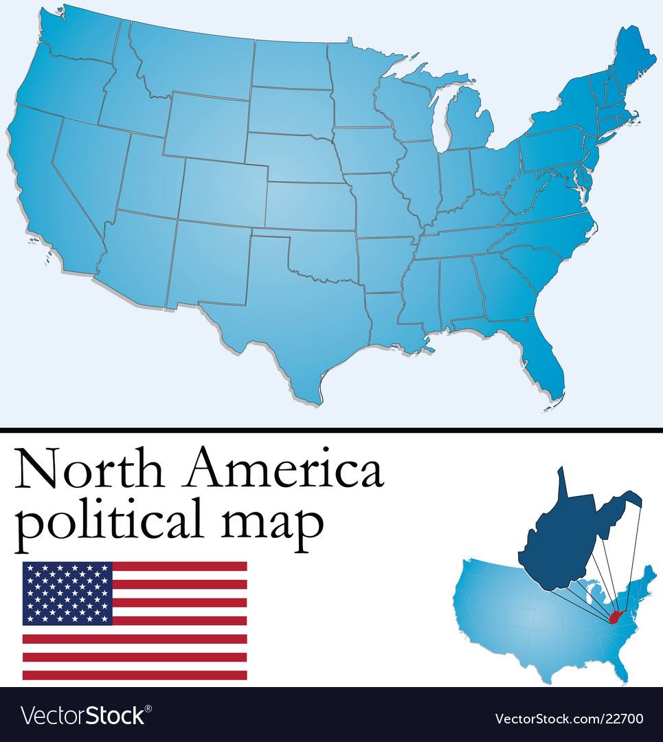 North america political map vector | Price: 1 Credit (USD $1)