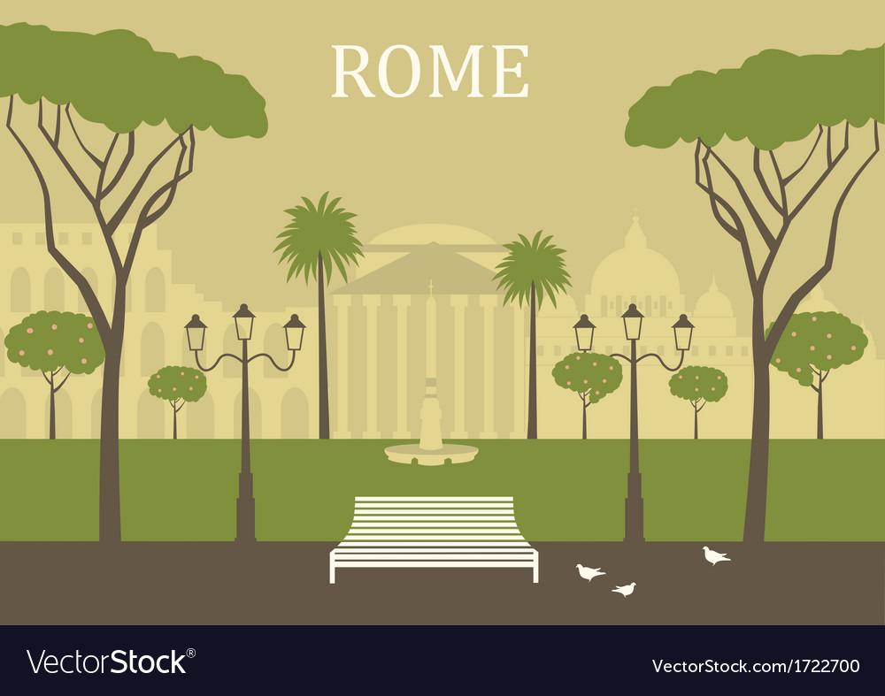 Park in rome vector | Price: 1 Credit (USD $1)