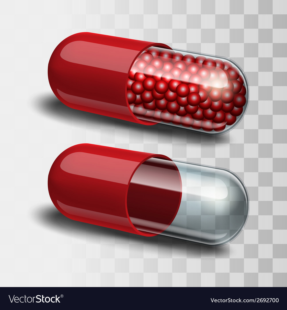 Red and transparent pills vector