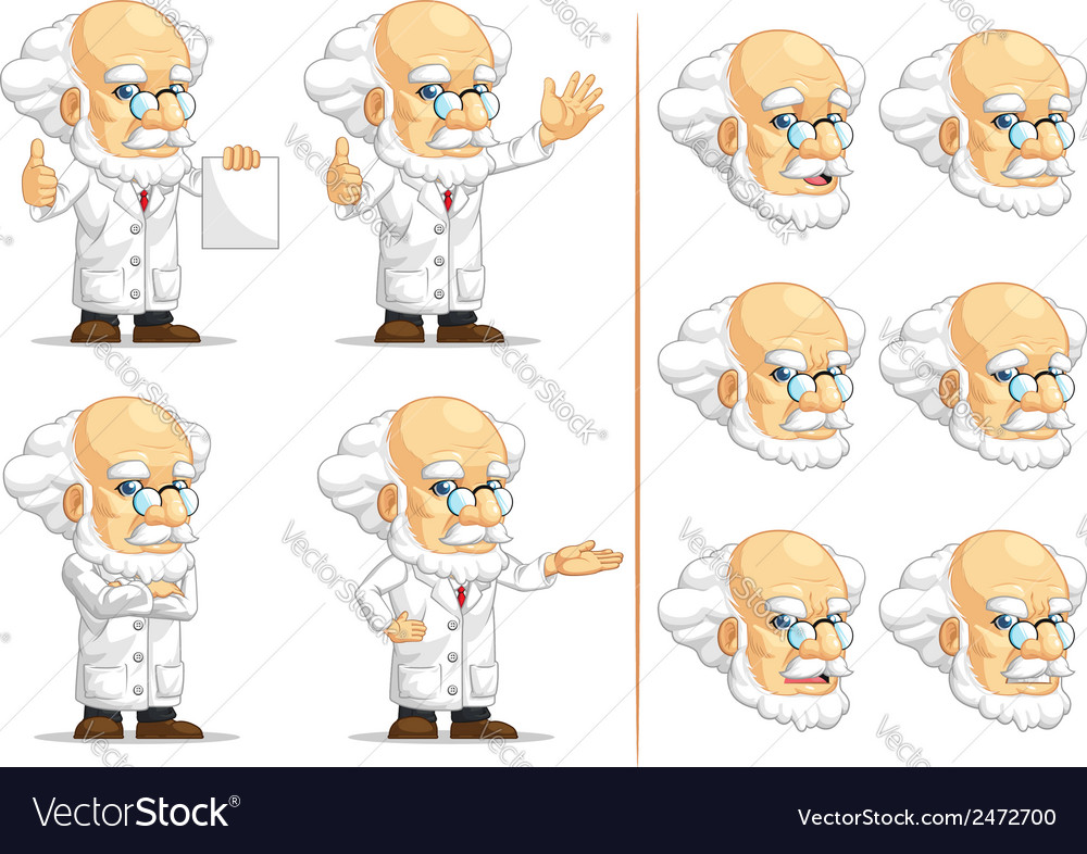Scientist or professor customizable mascot 13 vector | Price: 1 Credit (USD $1)