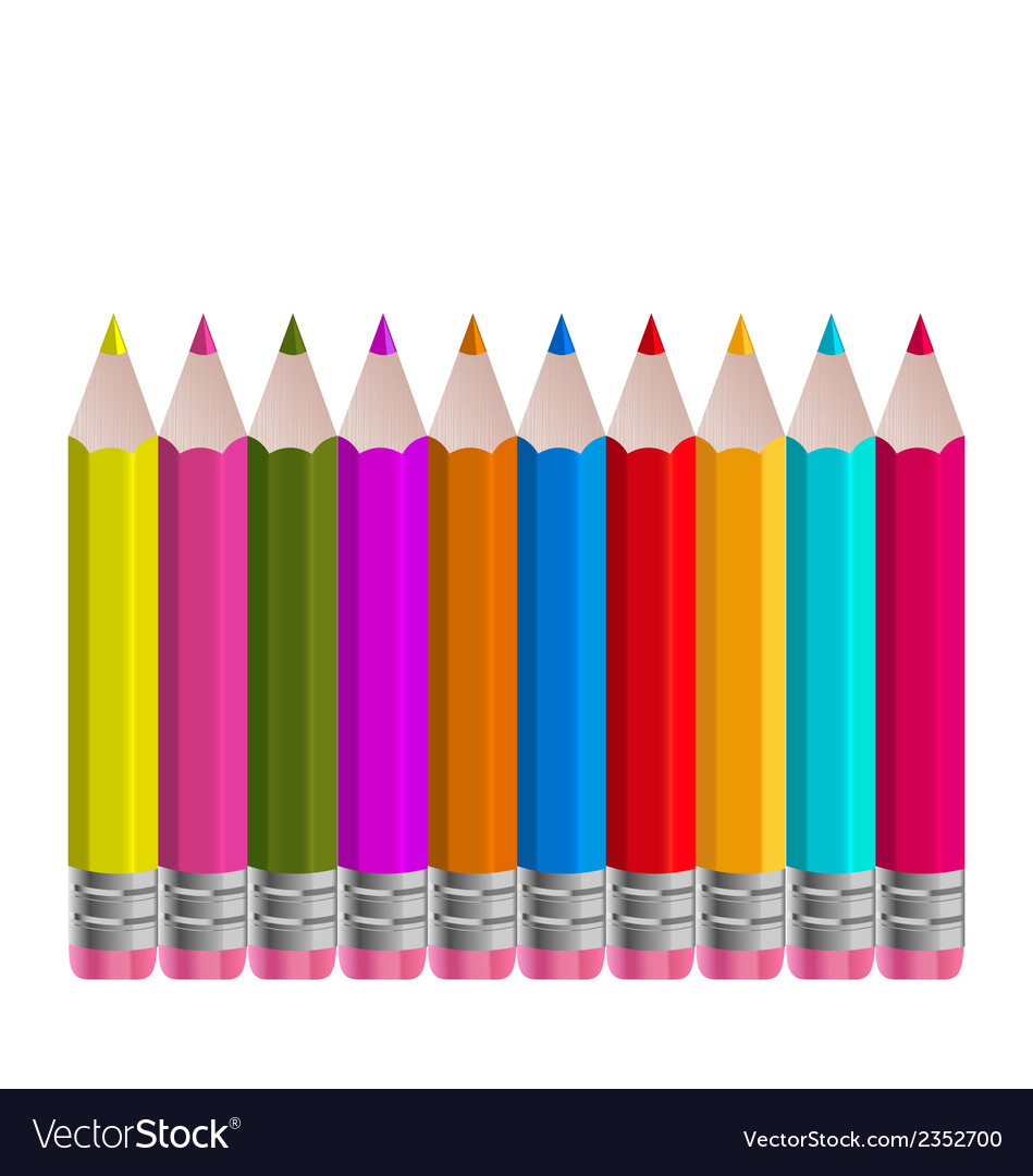 Set colorful vertical pencils isolated on white vector | Price: 1 Credit (USD $1)