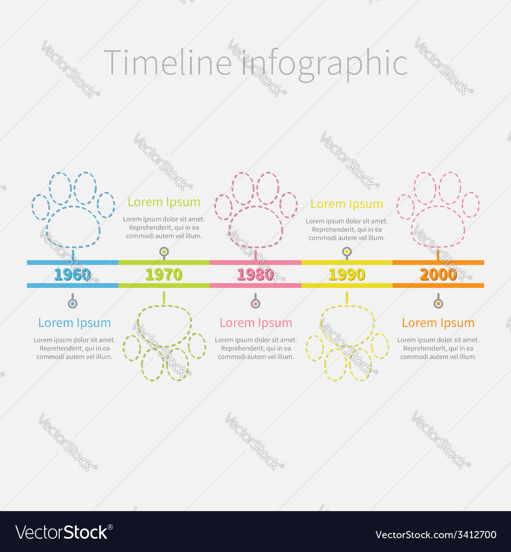 Timeline infographic colour dash line paw print vector | Price: 1 Credit (USD $1)