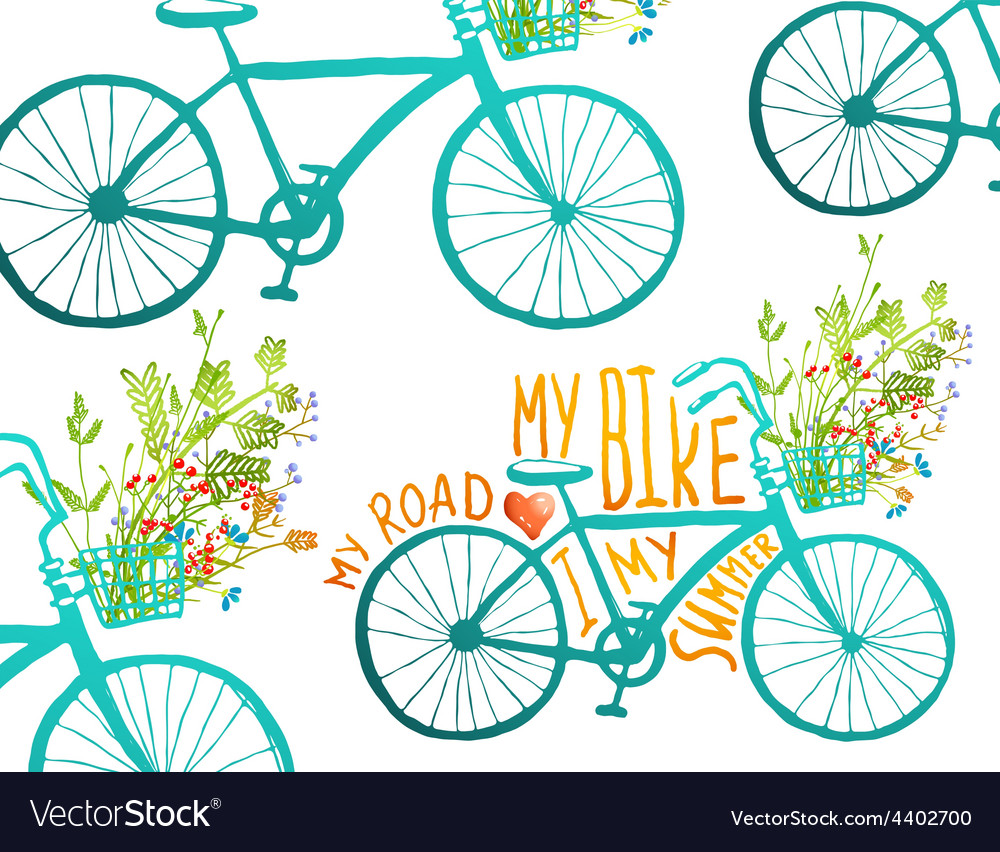 Vintage summer bike composition with bunch of vector | Price: 1 Credit (USD $1)