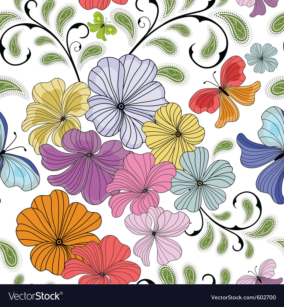 White seamless floral vector | Price: 1 Credit (USD $1)