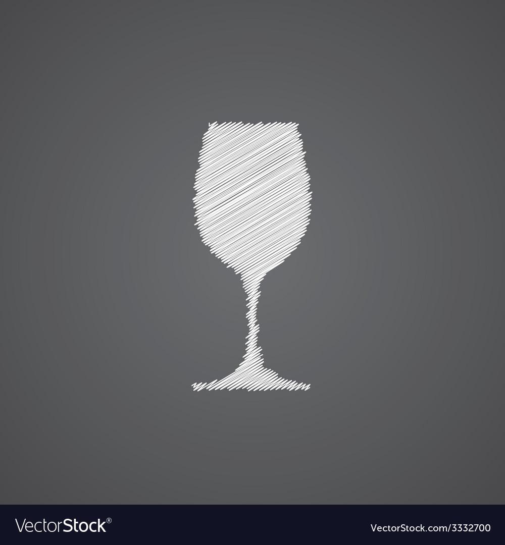 Wineglass sketch logo doodle icon vector | Price: 1 Credit (USD $1)