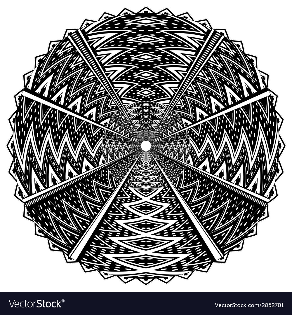 Black and white round ornament vector | Price: 1 Credit (USD $1)