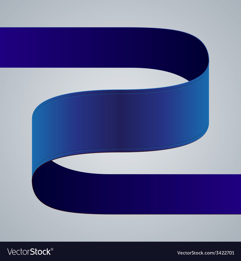 Blue fabric curved ribbon on grey background vector | Price: 1 Credit (USD $1)