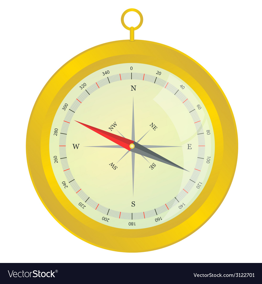 Compass gold color vector | Price: 1 Credit (USD $1)