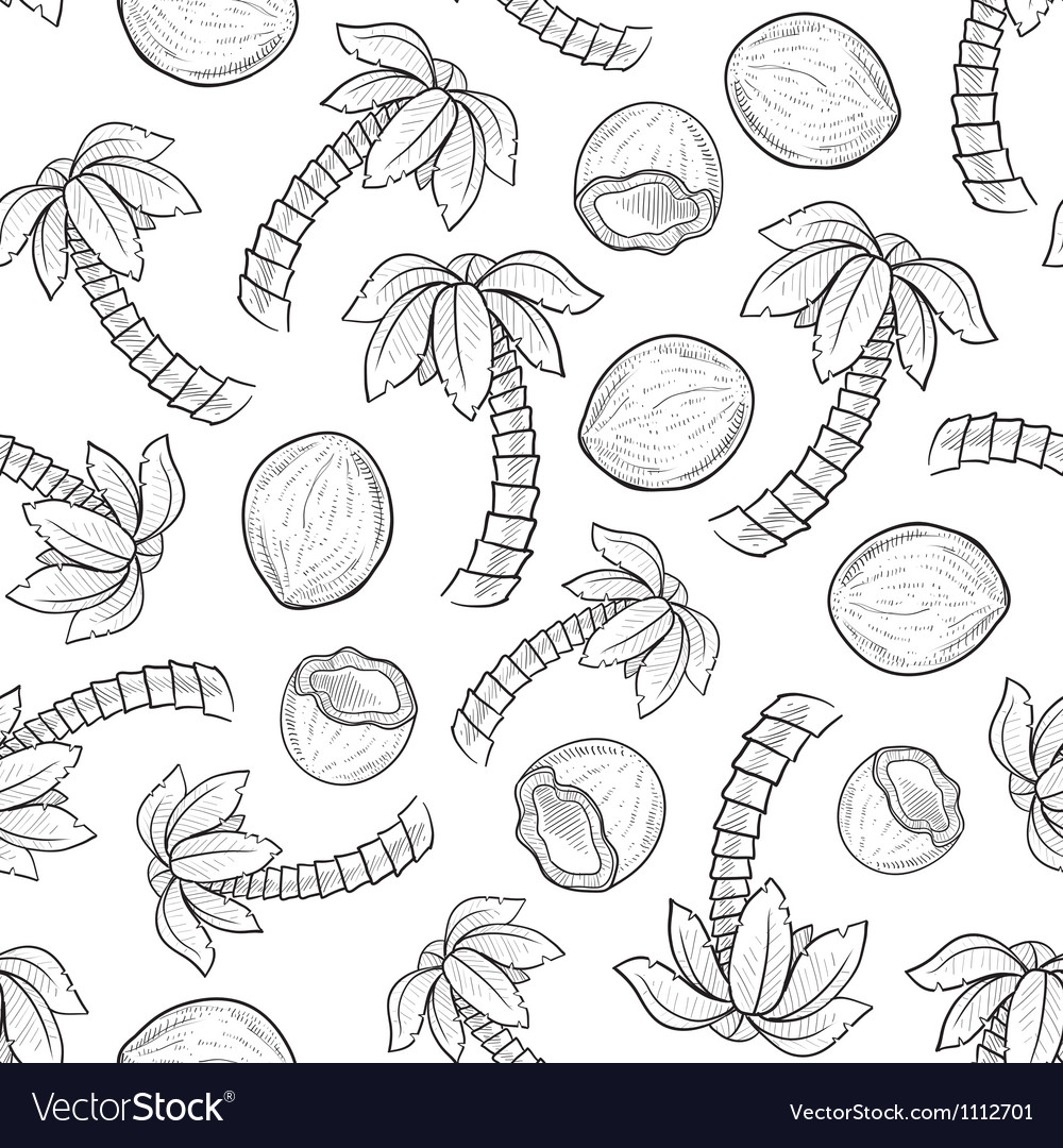 Doodle palm coconut pattern seamless vector | Price: 1 Credit (USD $1)