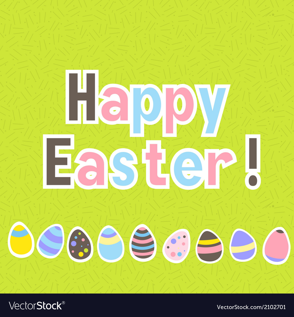 Easter colorful green greeting card vector | Price: 1 Credit (USD $1)