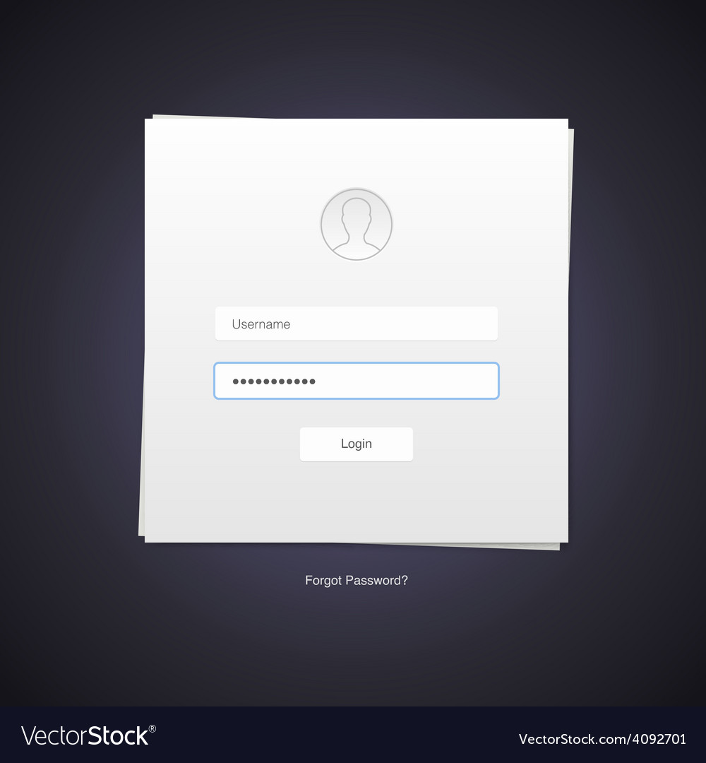 Flat design minimalistic log in form vector | Price: 1 Credit (USD $1)