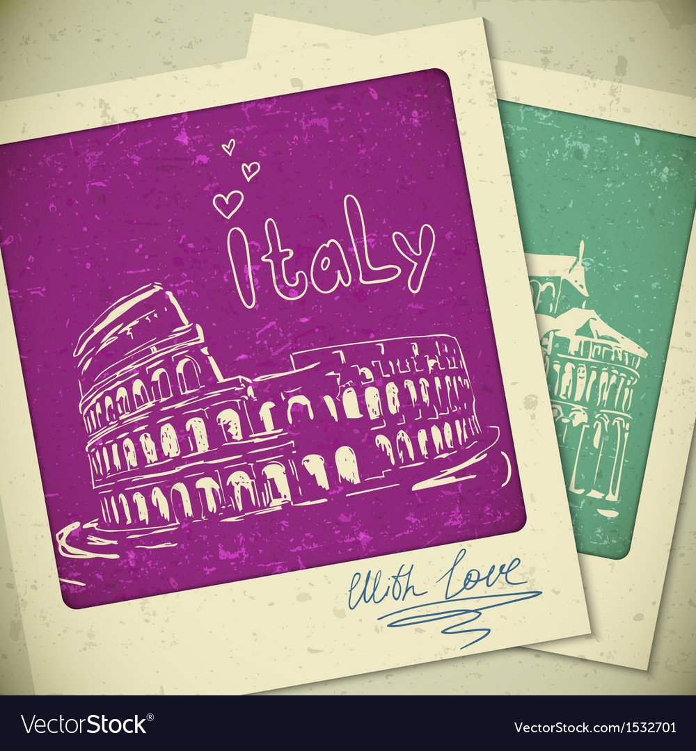 Italy hand drawn landscape in vintage style vector | Price: 1 Credit (USD $1)