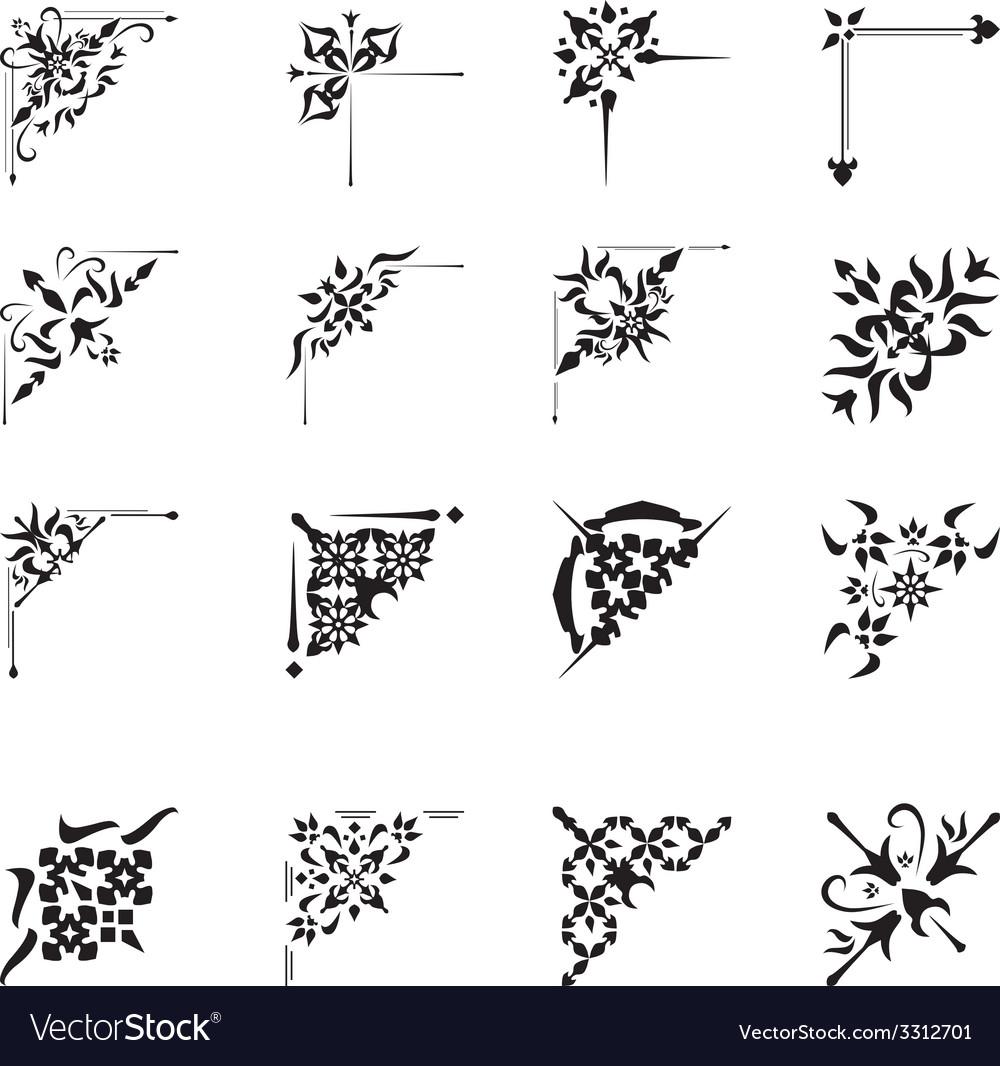 Ornamental design corners set vector | Price: 1 Credit (USD $1)