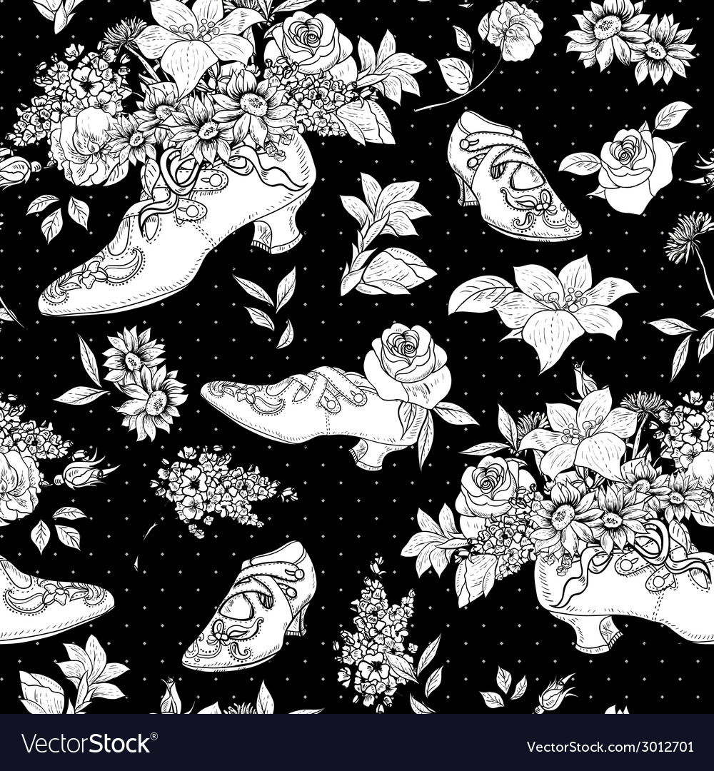 Seamless background with flowers and shoes vector | Price: 1 Credit (USD $1)