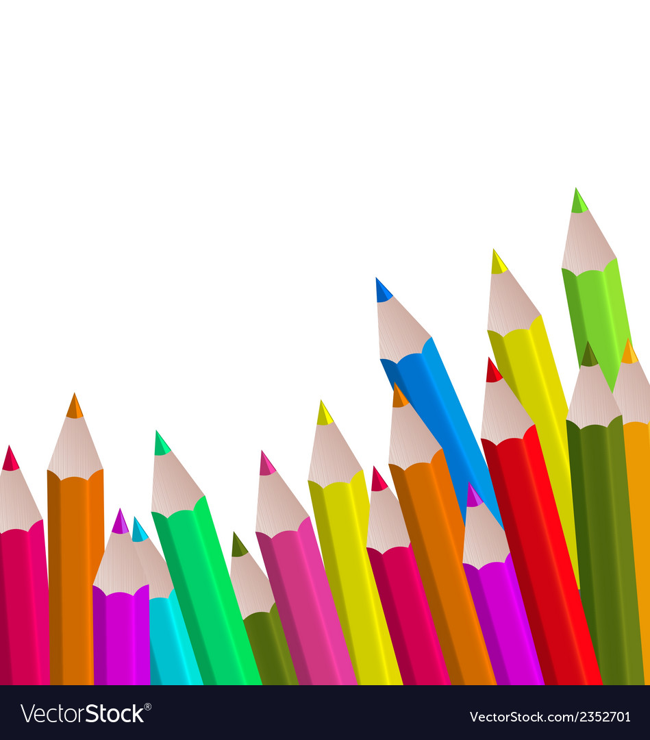 Set colorful pencils on white background vector | Price: 1 Credit (USD $1)