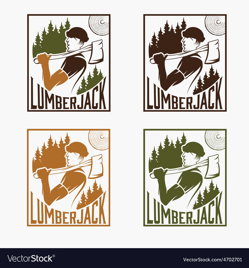 Set of vintage lumberjack labels vector | Price: 1 Credit (USD $1)
