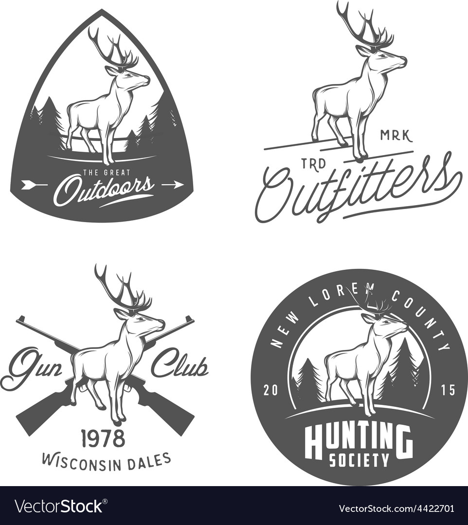 Set of vintage outdoors badges and design elements vector | Price: 1 Credit (USD $1)