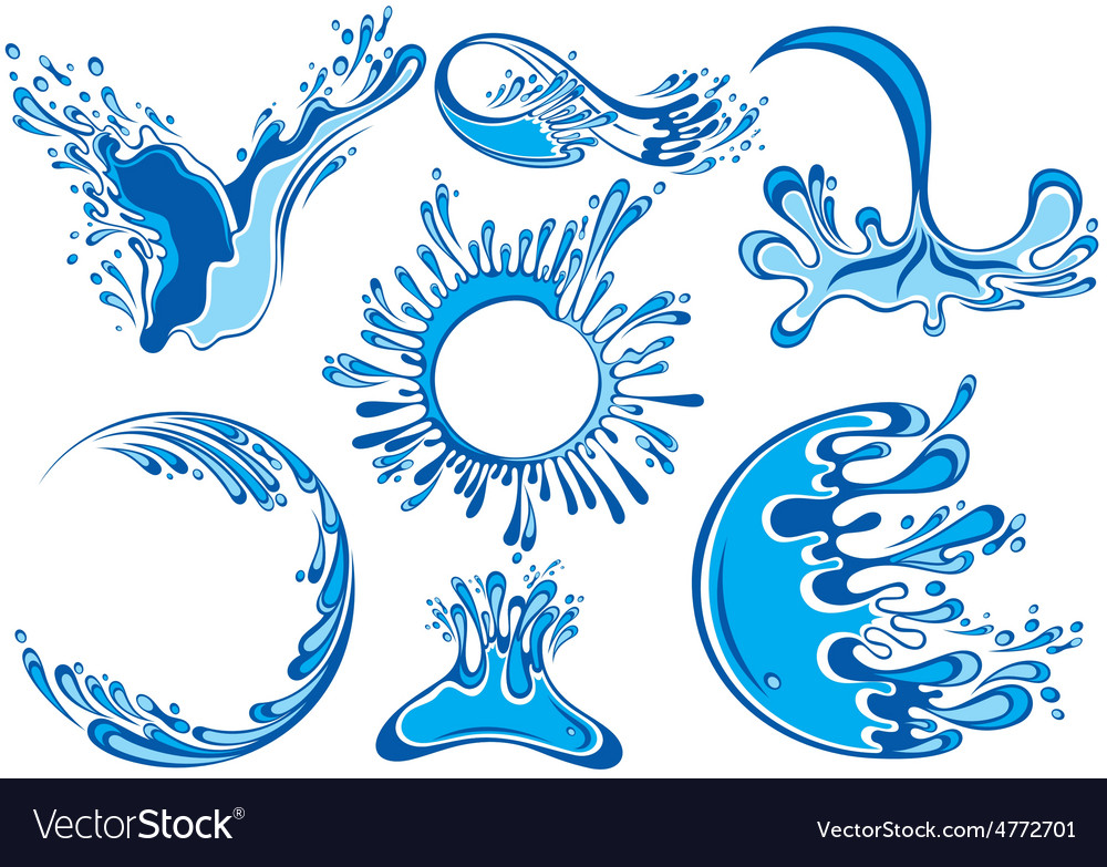 Water splashes collection vector | Price: 1 Credit (USD $1)
