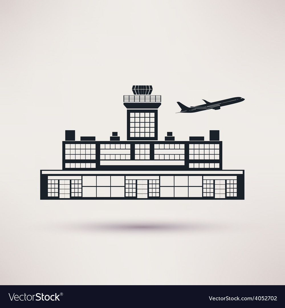 Airport building icon in the flat style vector | Price: 1 Credit (USD $1)