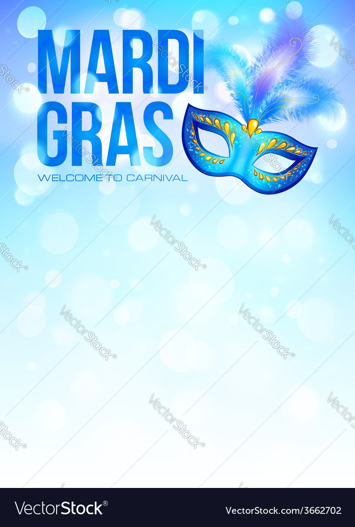Blue carnival mask with feathers on bokeh lights vector   Price: 1 Credit (USD $1)