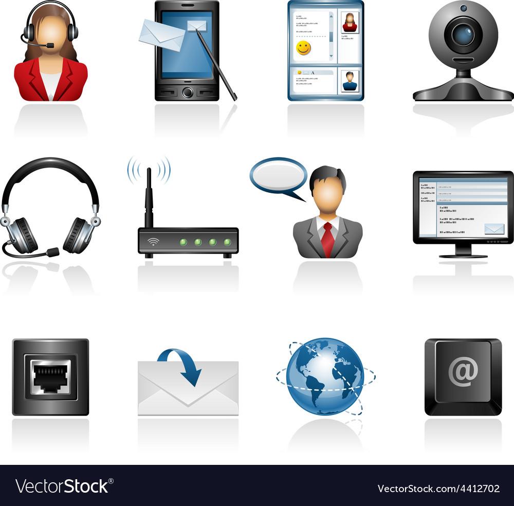 Communication icon set vector | Price: 3 Credit (USD $3)