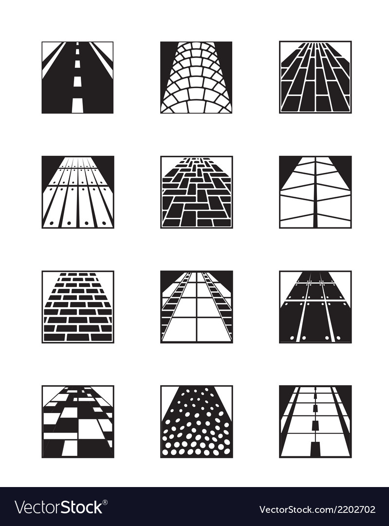 Different types of road surfaces vector | Price: 1 Credit (USD $1)
