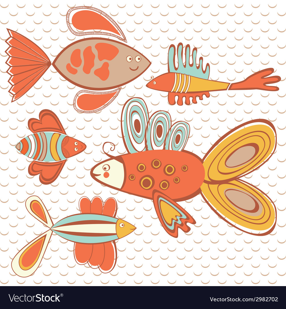 Exotic abstract fish pattern vector | Price: 1 Credit (USD $1)
