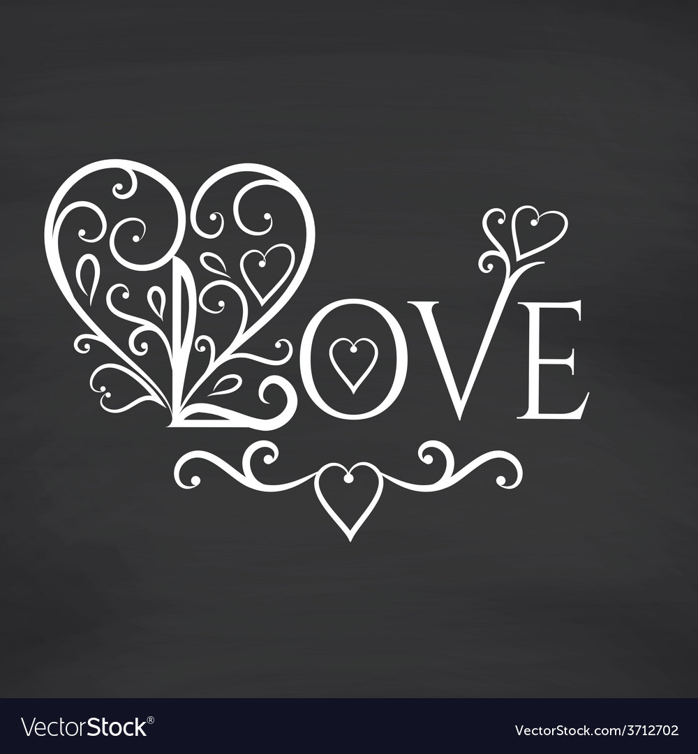 Love you blackboard background vector | Price: 1 Credit (USD $1)