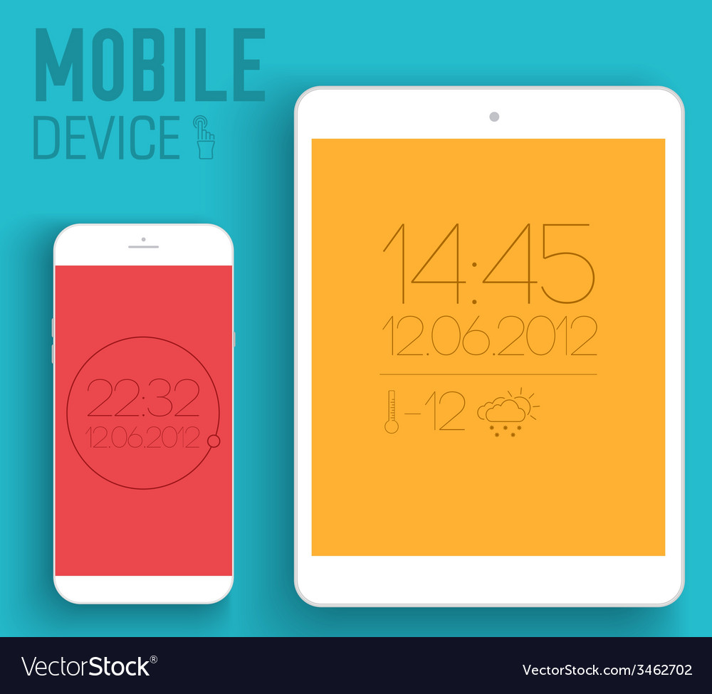 Mobile electronic devices on flat style concept vector | Price: 1 Credit (USD $1)