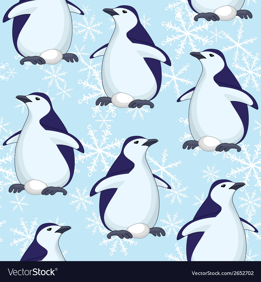 Seamless pattern penguins and snowflakes vector | Price: 1 Credit (USD $1)