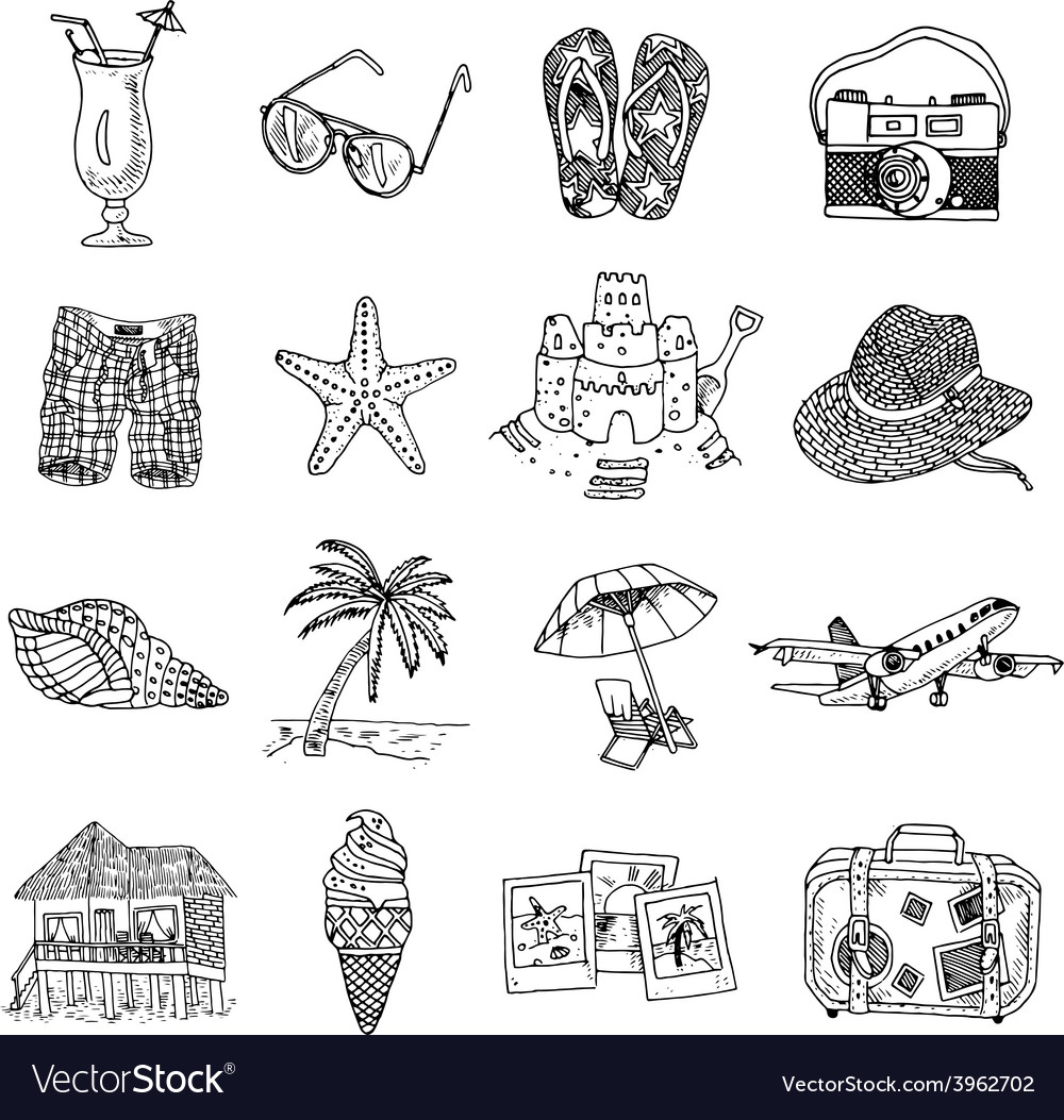 Summer vacation doodle sketch isons set vector | Price: 1 Credit (USD $1)