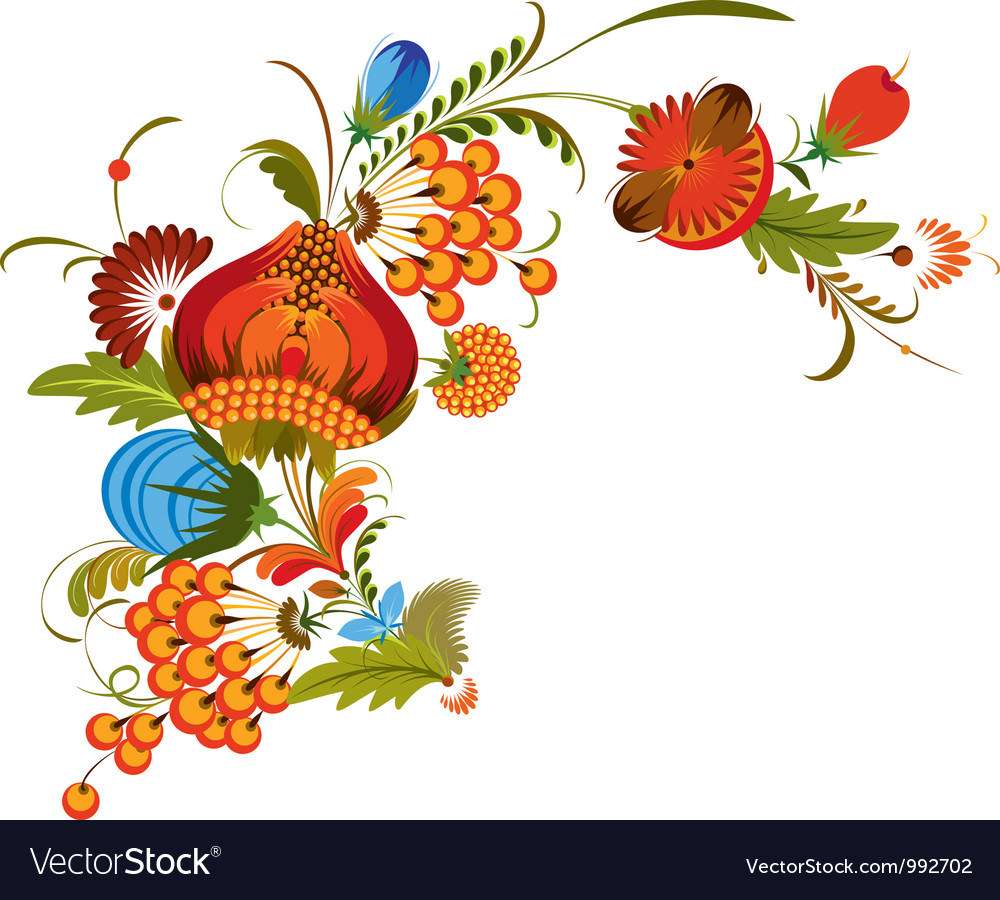 Traditional bunch flowers isolated vector | Price: 3 Credit (USD $3)