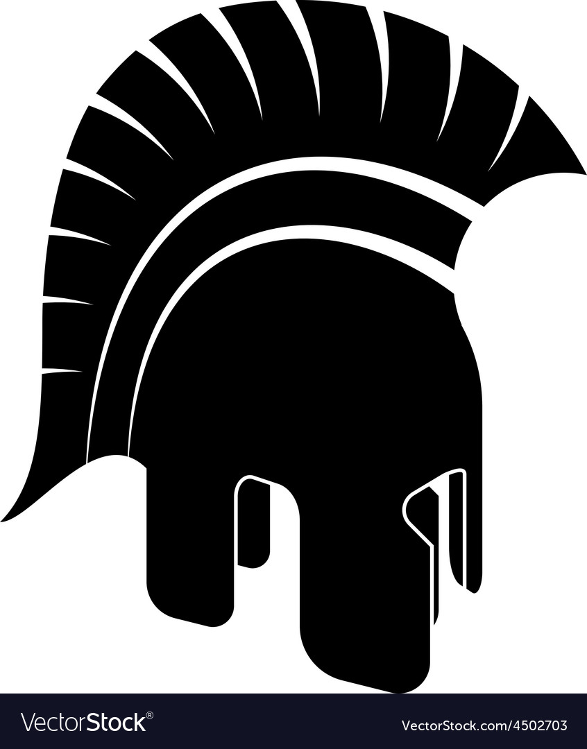 Ancient helmet black white vector | Price: 1 Credit (USD $1)