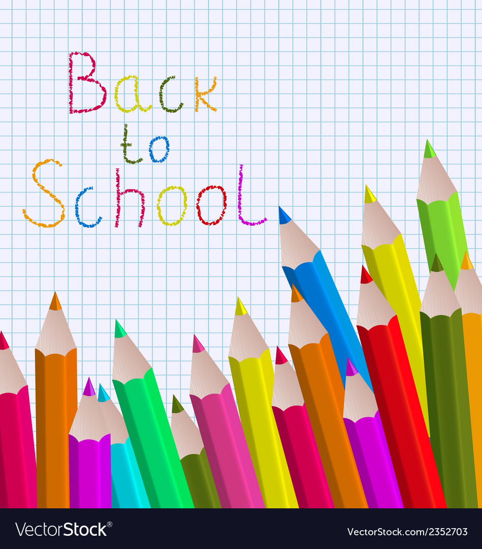 Back to school message with pencils on paper sheet vector | Price: 1 Credit (USD $1)
