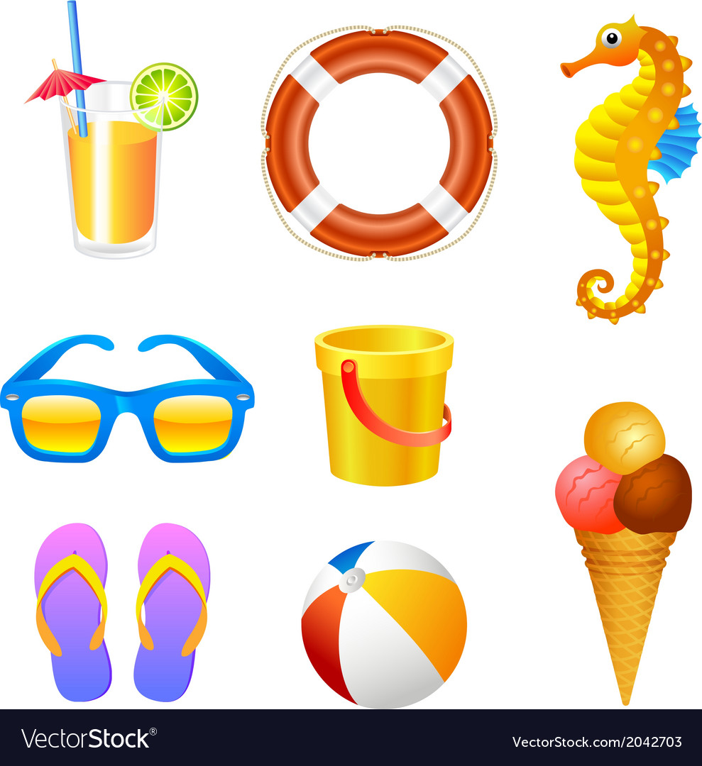 Beach set 2 vector | Price: 1 Credit (USD $1)