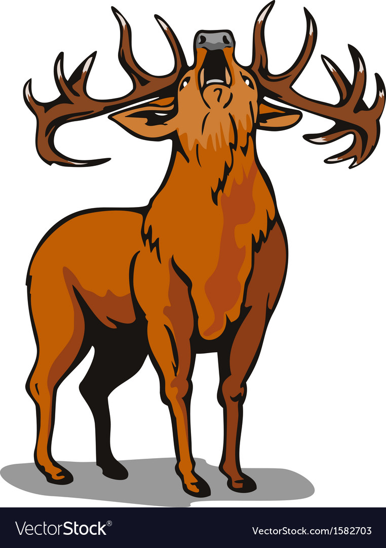Deer roaring vector | Price: 1 Credit (USD $1)