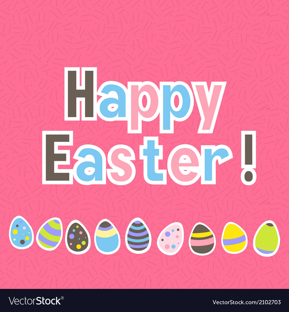 Easter colorful pink greeting card vector | Price: 1 Credit (USD $1)
