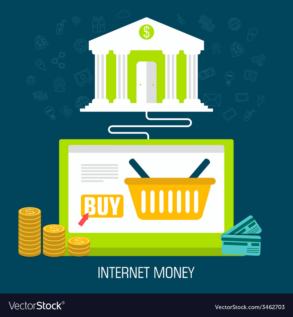 Flat internet money on laptop from bank background vector | Price: 1 Credit (USD $1)