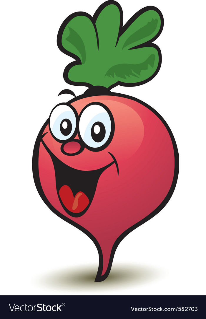 Happy radish character vector | Price: 1 Credit (USD $1)