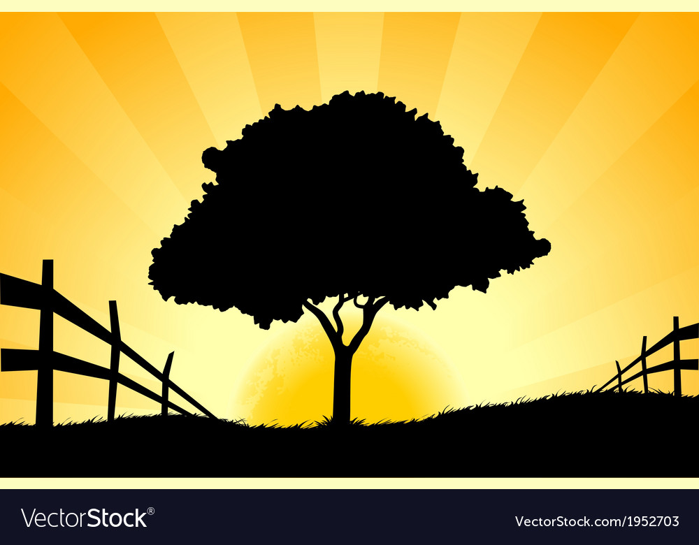 Landscape with grass sun and tree vector | Price: 1 Credit (USD $1)