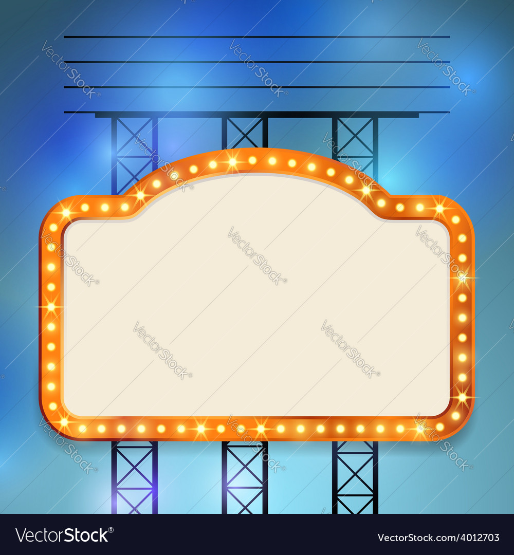 Retro cinema old vintage bulb frame sign vector | Price: 1 Credit (USD $1)