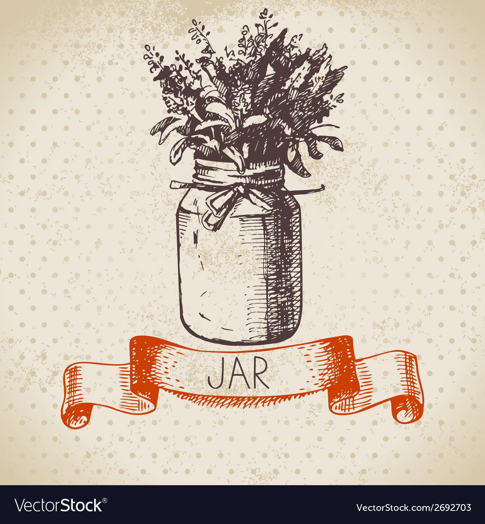 Rustic jar with lavender bouquet vector | Price: 1 Credit (USD $1)