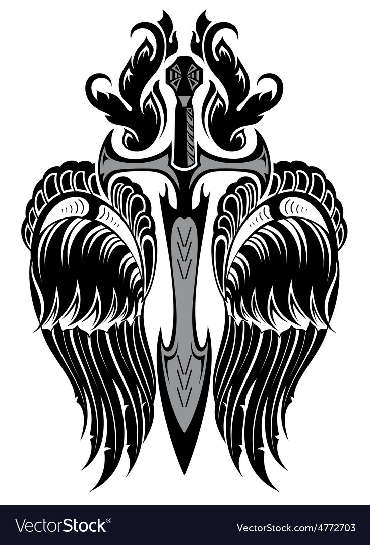 Wings and sword vector | Price: 1 Credit (USD $1)