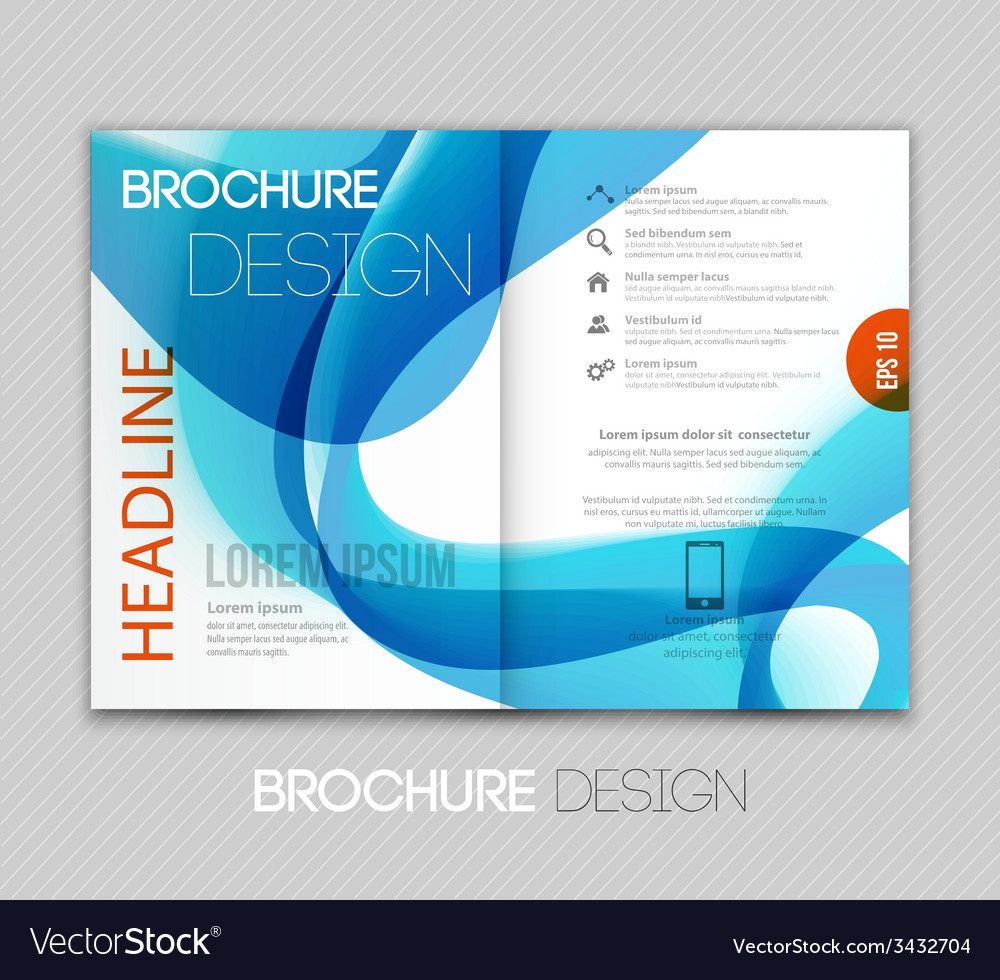 Abstract template brochure design with blue wave vector | Price: 1 Credit (USD $1)