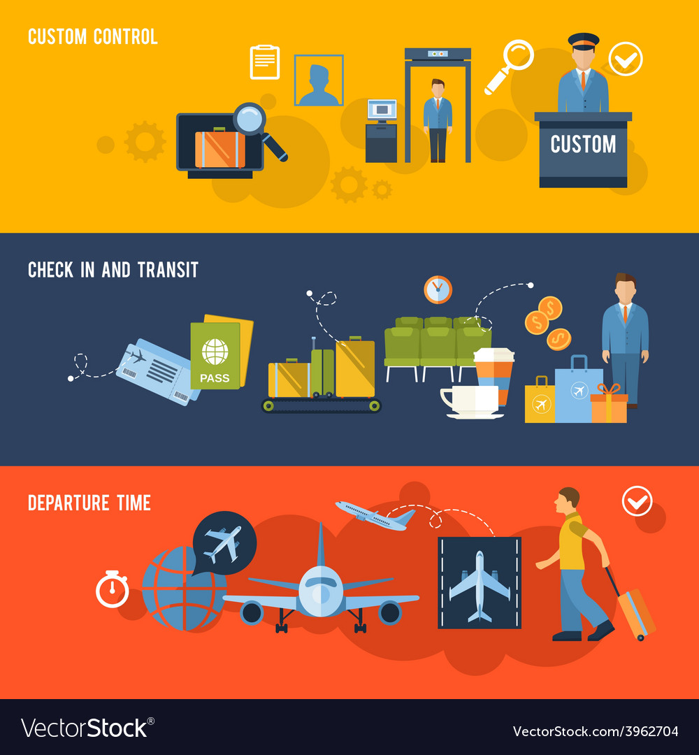 Airport banner set vector | Price: 1 Credit (USD $1)