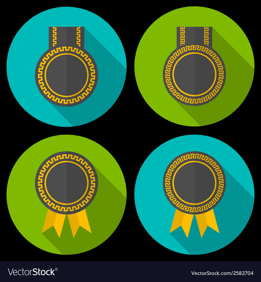 Award or badge with ribbons and decoration modern vector | Price: 1 Credit (USD $1)